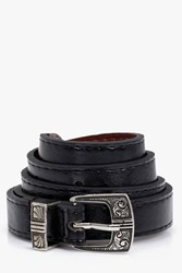 Boohoo Western Buckle Skinny Belt Black