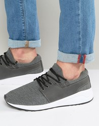 Pull And Bear Pullandbear Trainers With Faux Leather Trim In Grey Gray