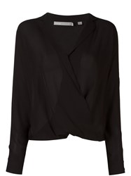 Vince Wrap Front Blouse Black
