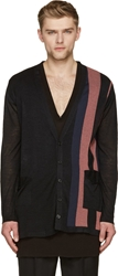 Ann Demeulemeester Black Silk Colorblock Button Up Cardigan