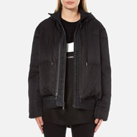 Dkny Women's Long Sleeve Short Hooded Downfill Puffer Coat With Double Layer Black