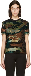 Ashish Green And Black Sequined Camo T Shirt