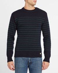 Armor Lux Navy And Forest Green Wool Button Shoulder Sailor Stripe Sweater Blue