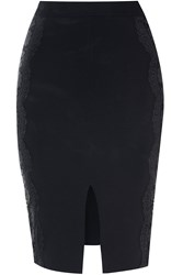 Alice And You Lace Applique Pencil Skirt Black