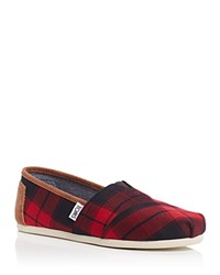 Toms Seasonal Classic Plaid Flats Red Black