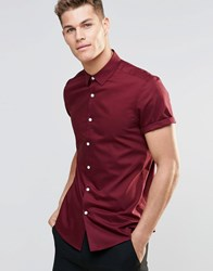 Asos Oxford Shirt In Burgundy With Short Sleeves In Regular Fit Burgundy Red