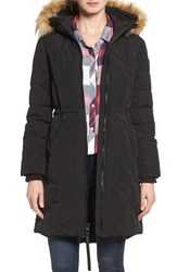 Guess Women's Quilted Anorak With Faux Fur Trim Black