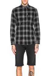 R 13 R13 Zip Plaid Shirt In Black Checkered And Plaid