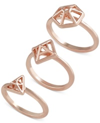 French Connection Gold Tone Mini Geometric Set Of 3 Rings Rose Gold
