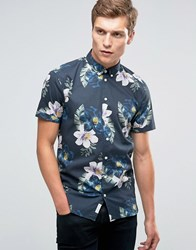 Minimum Kelvin Printed Short Sleeve Shirt Navy