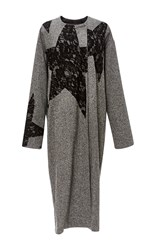 Tome Lace Stars Tweed Draped Coat Light Grey