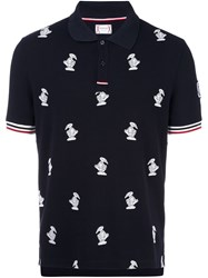 Moncler Gamme Bleu Duck Embroidered Polo Shirt Blue