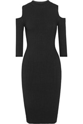 Maje Cutout Ribbed Knit Dress Black