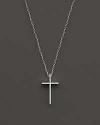Bloomingdale's 14K White Gold Small Cross Pendant Necklace 18