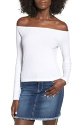 Women's Bp. Off The Shoulder Rib Knit Crop Top White