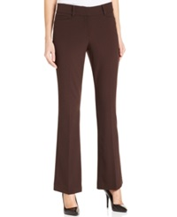 Style And Co. Petite Tummy Slimming Flare Leg Pants Espresso Roast