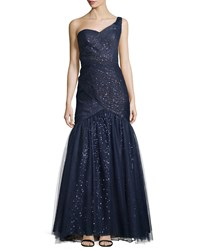 Monique Lhuillier One Shoulder Gown With Tulle Overlay Women's
