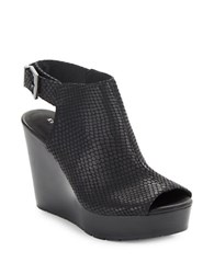 Kenneth Cole Olcott Embossed Leather Peep Toe Wedge Booties Black