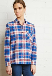 Forever 21 Plaid Flannel Pocket Shirt Blue Cream