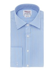 T.M.Lewin Gingham Check Prince Of Wales Shirt Blue