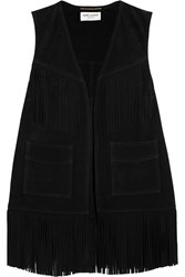 Saint Laurent Fringed Suede Vest Black