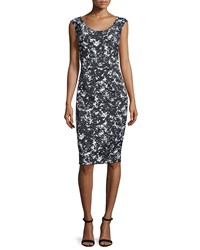 Michael Kors Scoop Neck Printed Sheath Dress Black White