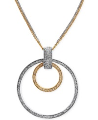 Effy Collection Effy Diamond Two Tone Circle Pendant In 14K Gold 9 10 Ct. T.W. Yellow White Gold