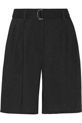 Theory Seltha Belted Cady Shorts Black