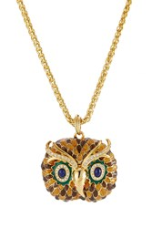 Kenneth Jay Lane Embellished Owl Necklace Gold