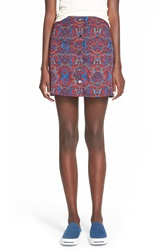 Lush Button Front A Line Skirt Wine Print