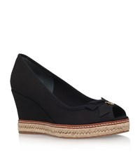 Tory Burch Jackie 2 Peep Toe Raffia Wedges Female Black