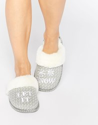 Asos Nice And Cosy Let It Snow Slippers Lightgrey