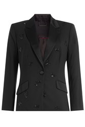 Diane Von Furstenberg Wool Blazer With Beaded Embellishment Black