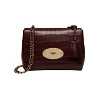 Mulberry Lily Deep Embossed Croc Print Small Shoulder Bag Oxblood