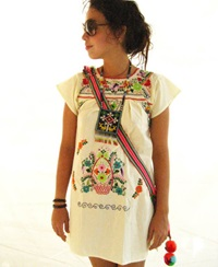 Mexican Dress Embroidered Bohemian Mini Tunic Von Aidacoronado