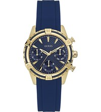 Guess W0562l2 Catalina Gold Plated Quartz Watch Blue