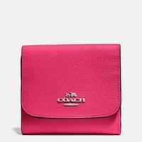 Coach Small Wallet In Crossgrain Leather Silver Amaranth