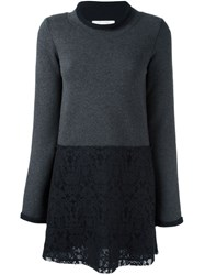 See By Chloe Floral Lace Panel Knit Dress Grey