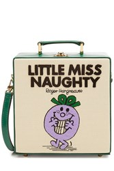 Olympia Le Tan Little Miss Naughty Embroidered Cotton Shoulder Bag Multicolor