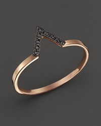 Zoe Chicco 14K Rose Gold Black Pave Diamond Small V Ring Rose Black