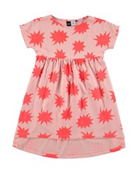 Molo Cap Sleeve Cotton A Line Star Dress Coral