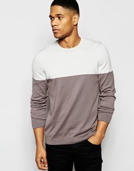 Asos Color Block Crew Neck Sweater In Cotton Lt Gray Flat Charc