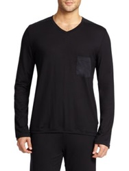 Hanro V Neck Pocket Tee Black