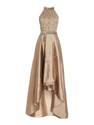 Adrianna Papell Halter Neck Sequin Top Gown Bronze