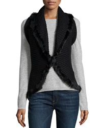 Love Token Rabbit Fur Trim Shawl Collar Vest Black