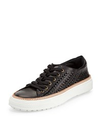 Delman Mela Perforated Leather Sneaker Black