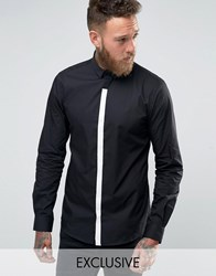 Noose And Monkey Contrast Placket Shirt Black White Placket