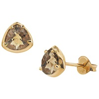 Dinny Hall Sheba Sterling Silver 22Ct Gold Plated Smoky Quartz Stud Earrings Gold