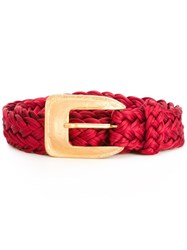 Yves Saint Laurent Vintage Braided Belt Red