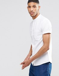 Asos Skinny Oxford Shirt In White With Grandad Collar And Short Sleeves White